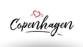 copenhagen Europe miasta imienia europejskiej miłości turystyki loga kierowy ico ilustracja wektor