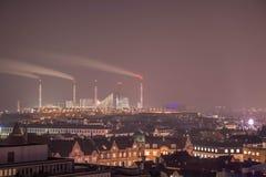 Copenhagen factory. Cityscape of copenhagen by night Royalty Free Stock Images
