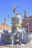 Copenhagen. Fountain Bull tearing dragon Stock Photo
