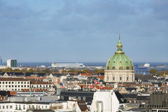 Copenhagen Frederik`s Church View, Denmark. View over central Copenhagen, Denmark with the dome of Frederik`s Church in the center Stock Image