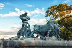 Copenhagen Gefion Fountain. The famous Gefion Fountain Gefionspringvandet 1899 in Copenhagen. Gefion Fountain depicting legendary Norse goddess driving four oxen Royalty Free Stock Photos