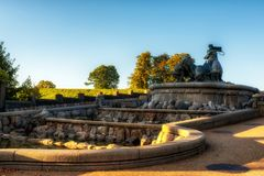 Copenhagen Gefion Fountain. The Gefion Fountain is a large fountain on the harbour front in Copenhagen, Denmark. It features a large-scale group of animal Royalty Free Stock Photography