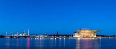 Copenhagen harbor panorama by night Royalty Free Stock Images