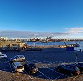 Copenhagen Industrial area district along sea with clear blue sky during sunset time royalty free stock images