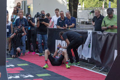 Copenhagen Ironman 2016, Denmark. Copenhagen, Denmark - August 21, 2016: An exhausted Will Clarke who finished as 2nd in men's at the KMD Ironman Copenhagen 2016 Royalty Free Stock Photo