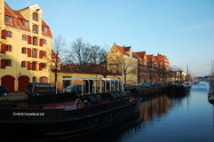 Copenhagen with its canals, boats and colorful buildings, Denmark Royalty Free Stock Photo