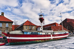 Copenhagen lighthouse ship. In the canals Royalty Free Stock Photos