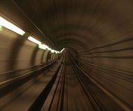 Copenhagen metro rail tunnel Royalty Free Stock Photos