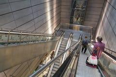 Copenhagen metro station, people using escalator Stock Images