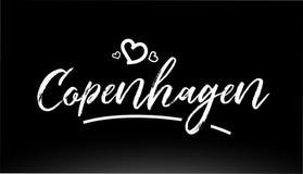 copenhagen miasta czarny i biały ręki pisać tekst z kierowym logo royalty ilustracja