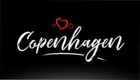copenhagen miasta ręki pisać tekst z czerwonym kierowym logo ilustracji