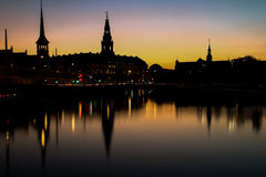 Copenhagen at night, mirrored in the water Royalty Free Stock Photography
