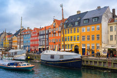Copenhagen Nyhavn Canal and District Stock Photography
