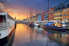 Copenhagen, Nyhavn Canal. Image of Nyhavn Canal in Copenhagen, Denmark during beautiful sunset royalty free stock photography