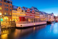 Copenhagen Nyhavn Denmark. Copenhagen Nyhavn, New port of Copenhagen, at night in Denmark royalty free stock photo