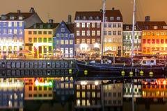 Copenhagen Nyhavn Denmark. Copenhagen Nyhavn, New port of Copenhagen, at night in Denmark Stock Photography