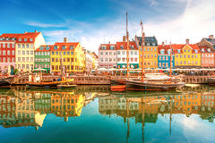 Copenhagen, Nyhavn. Nyhavn district is one of the most famous landmark in Copenhagen in a summer day Royalty Free Stock Images