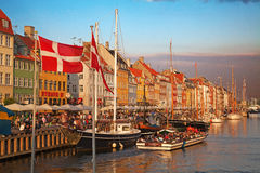 Copenhagen (Nyhavn district) in a sunny summer day Royalty Free Stock Image