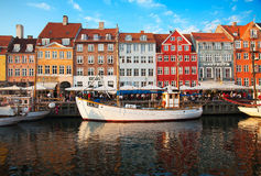 Copenhagen (Nyhavn district) in a sunny summer day Stock Photography
