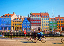 Copenhagen, Nyhavn famous landmark and entertainment district Royalty Free Stock Image