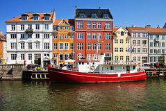 Copenhagen, Nyhavn waterfront with antique colorful buldings Stock Image
