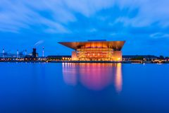 Copenhagen Opera House in Denmark at Dusk Royalty Free Stock Images