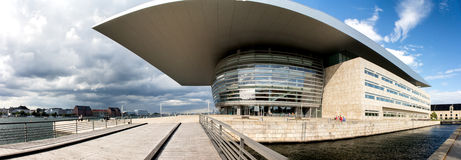 Copenhagen opera house 2014. Panorama stiched from multiple pictures. vertical lines have been corrected to lesser the fisheye effect Stock Image