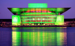 Copenhagen Opera at Night (Green) Royalty Free Stock Photos
