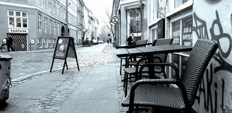 Copenhagen Old Town. Can relax at the table. royalty free illustration