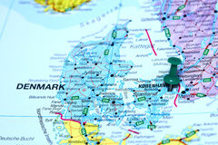 Copenhagen pinned on a map of europe Royalty Free Stock Photo