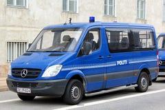 Copenhagen Police Van. Police van parking in Copenhagen, Denmark Stock Photo