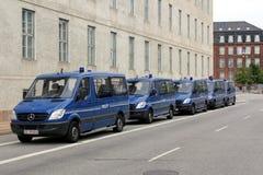 Copenhagen Police Vans. Police vans parking in Copenhagen, Denmark Royalty Free Stock Photo