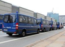 Copenhagen Police Vans. Police vans parking in Copenhagen, Denmark Royalty Free Stock Images