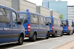 Copenhagen Police Vans Stock Photos