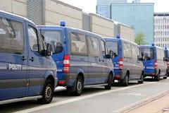 Copenhagen Police Vans. Police vans parking in Copenhagen, Denmark Stock Photos