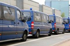 Copenhagen Police Vans. Police vans parking in Copenhagen, Denmark Stock Photo