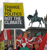 Copenhagen's environment protest. And the statue Royalty Free Stock Image
