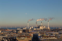 Copenhagen Skyline View with Amager Power Plant Stock Image