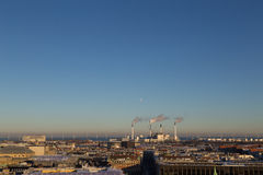Copenhagen Skyline View with Amager Power Plant Stock Images