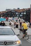 Copenhagen summer. Pedestrians, bikers and cars on the streets in Copenhagen in the summer Royalty Free Stock Photo