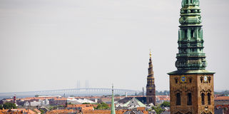 Copenhagen and towers. Copenhagen, Denmark with a view of towers and rooftops royalty free stock images
