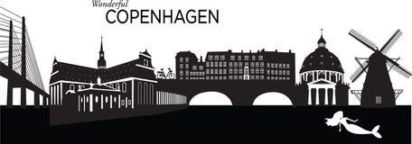 Copenhagen. Vector illustration of the skyline cityscape of Copenhagen, Denmark Royalty Free Stock Images