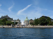 Copenhagen view. View of amalienborg place and cathedral Royalty Free Stock Image