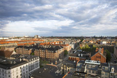 Copenhagen View from Above. This is a view from Østerbro towards the Øresundsbro and the little mermaid with dramatic sky Stock Photography