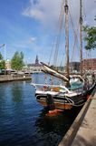 Copenhagen view with sailship Royalty Free Stock Images