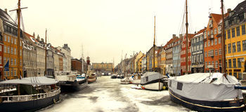 Copenhagen winter. Ships in the harbor Stock Photo