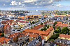 Denmark - Zealand region - Copenhagen city center - panoramic aerial view of the central Copenhagen and outskirts in. Copenhagen, Zealand region / Denmark - 2017 stock photo