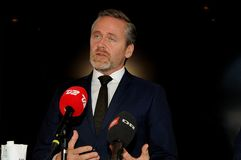 Copenhaghen/Danimarca 15 Novembre 2018 Il ministro danese di Anders Samuelsen dei ministri della Danimarca tre per gli affari est immagini stock libere da diritti