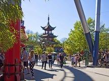 Copenhaghen, Danimarca - turisti ed ospiti ai giardini di Tivoli Fotografia Stock