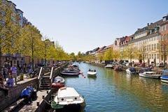 Copenhaghen, Danimarca: vista variopinta di Christianshavn Fotografie Stock